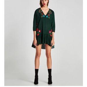 Zara embroidered V-neck dress